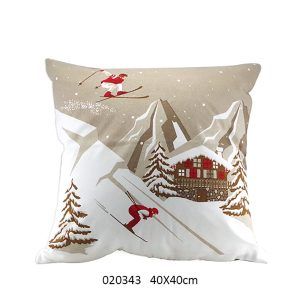 coussin skieur chalet